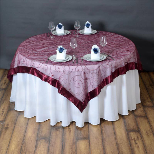 "72"" x 72"" Burgundy Satin Edge Embroidered Sheer Organza Square Table Overlay"