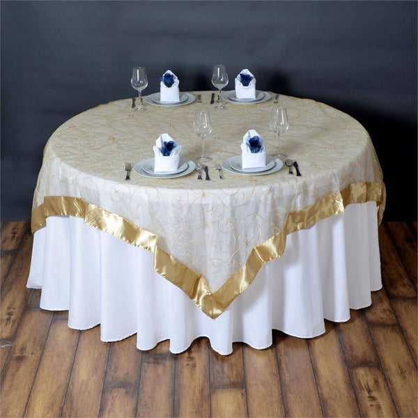 "72"" x 72"" Champagne Satin Edge Embroidered Sheer Organza Square Table Overlay"