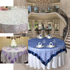 "72"" x 72"" White Satin Edge Embroidered Sheer Organza Square Table Overlay"