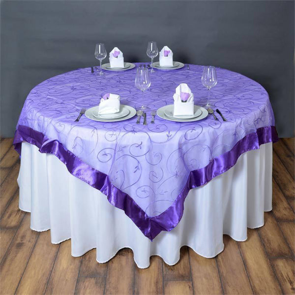 "72"" x 72"" Purple Satin Edge Embroidered Sheer Organza Square Table Overlay"