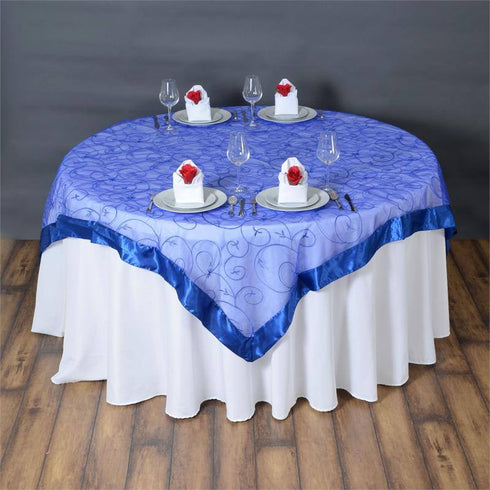 "Royal Blue Embroidered Overlay 72""x72"""