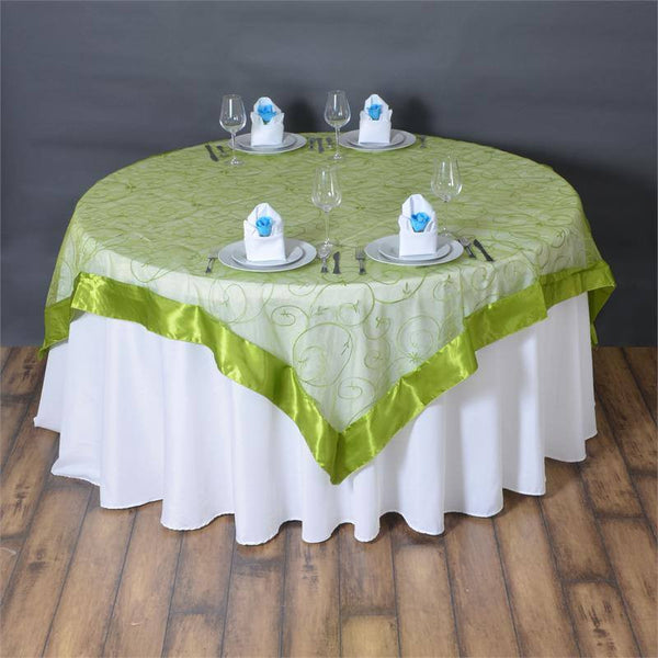 "72"" x 72"" Sage Green Satin Edge Embroidered Sheer Organza Square Table Overlay"