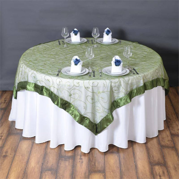 "72"" x 72"" Moss Green Satin Edge Embroidered Sheer Organza Square Table Overlay"