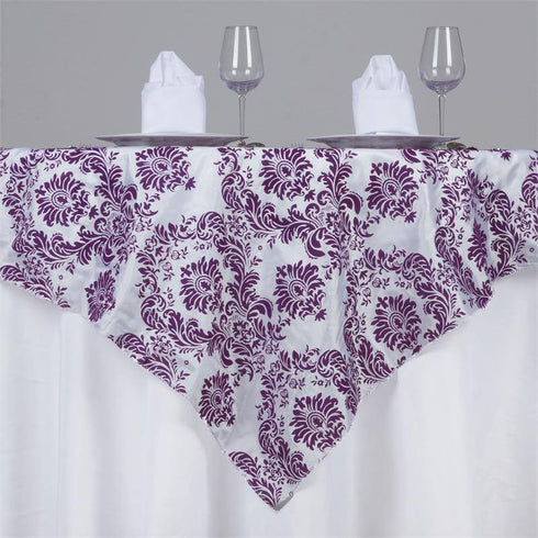 "72"" x 72"" Eggplant Damask Flocking Tablecloth Overlay"
