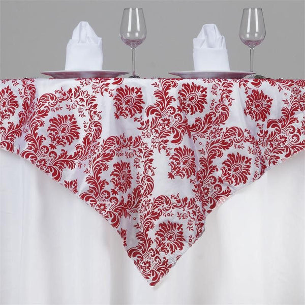 "72"" x 72"" Red Damask Flocking Tablecloth Overlay"