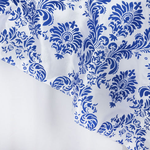 "72"" x 72"" Royal Blue Damask Flocking Tablecloth Overlay"