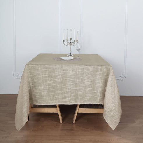 "72""x72"" Beige Premium Faux Linen Square Overlay 