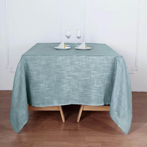 72x72 Dusty Blue Linen Square Overlay | Slubby Textured Wrinkle Resistant Table Overlay