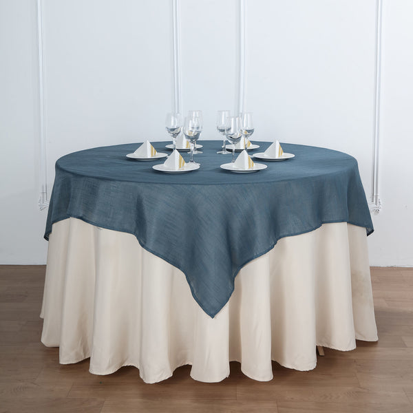 "72""x72"" Blue Linen Square Overlay 