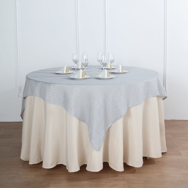 "72""x72"" Silver Linen Square Overlay 