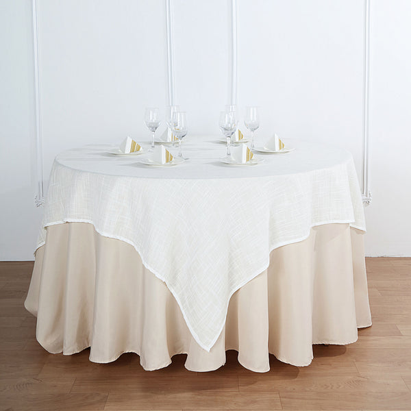 "72""x72"" White Linen Square Overlay 