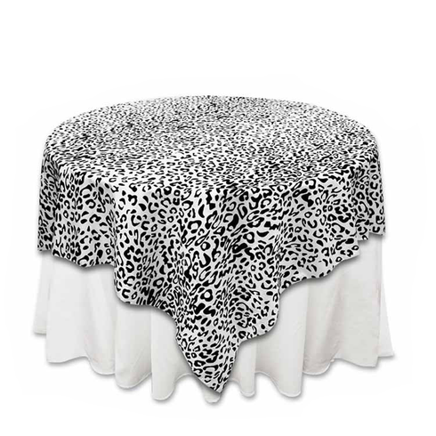 "72"" Silver/Black Animal Print Flocking Overlay"