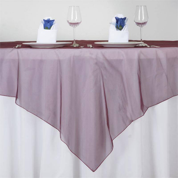 "72"" x 72"" Burgundy Square Organza Overlay"