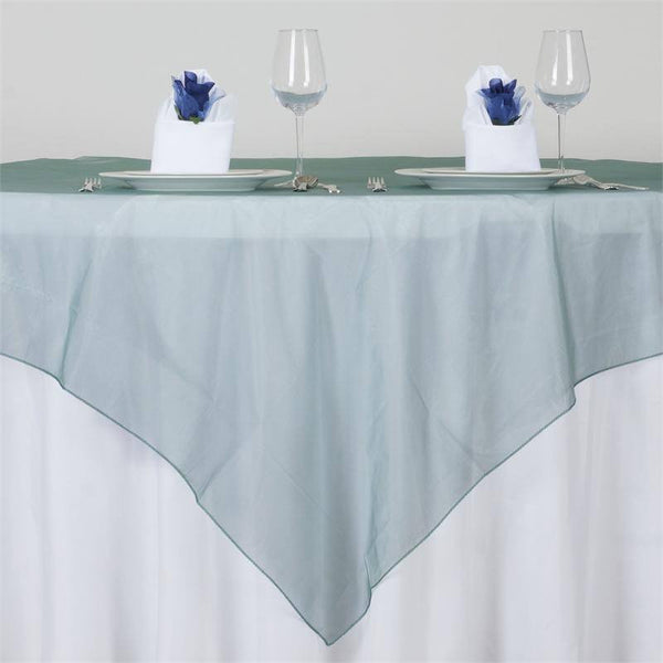 "72"" x 72"" Hunter Emerald Green Square Organza Overlay"