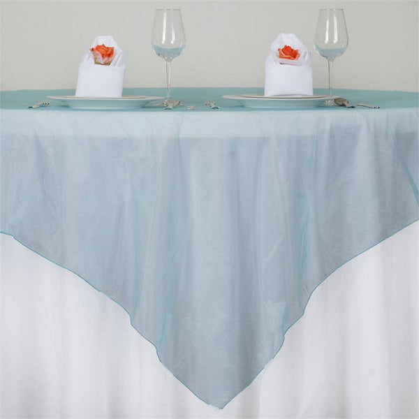 "72"" x 72"" Turquoise Square Organza Overlay"