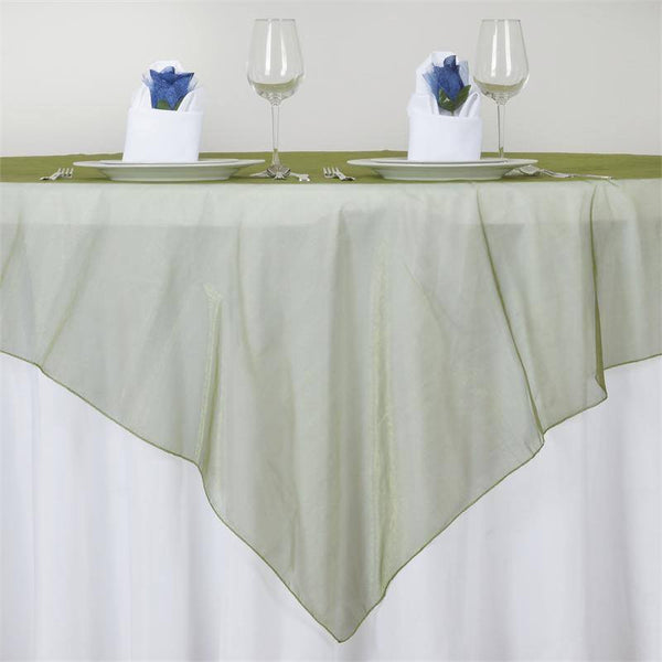 "72"" x 72"" Moss Green Square Organza Overlay"