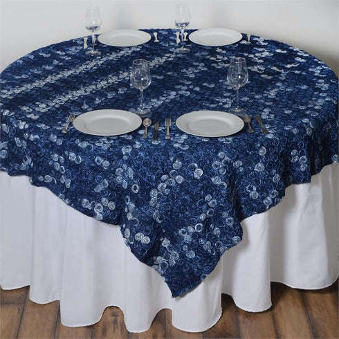 "72"" x 72"" Navy Blue Satin Mini Rosette Square Overlay"