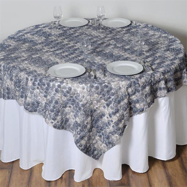 "72"" x 72"" Silver Satin Mini Rosette Square Table Overlay"