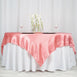 "72"" x 72"" Rose Quartz Seamless Satin Square Tablecloth Overlay"
