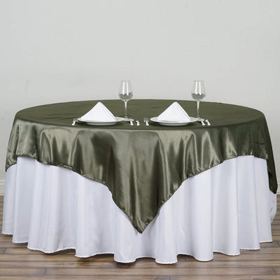 "72"" Laurel Green Seamless Satin Square Tablecloth Overlay"