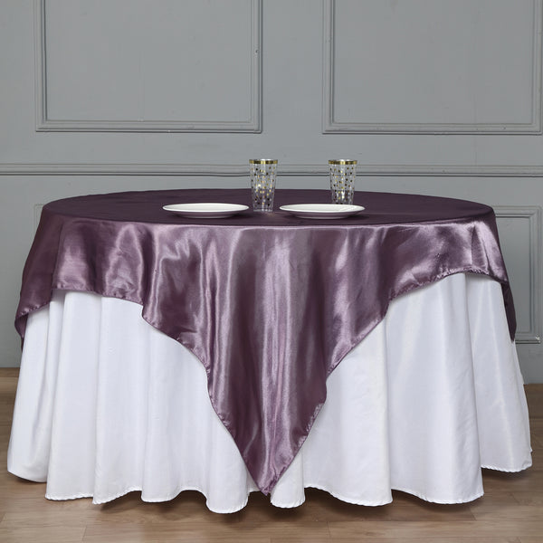 "72"" x 72"" Violet Amethyst Seamless Square Satin Tablecloth Overlay"