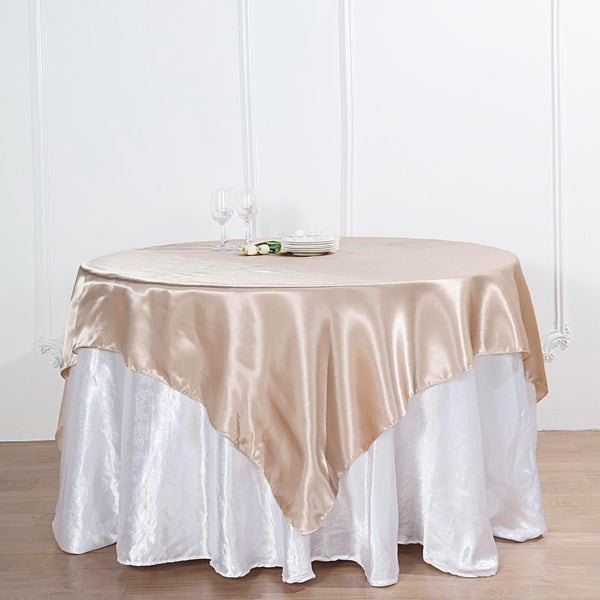 "72"" x 72"" Beige Seamless Satin Square Tablecloth Overlay"