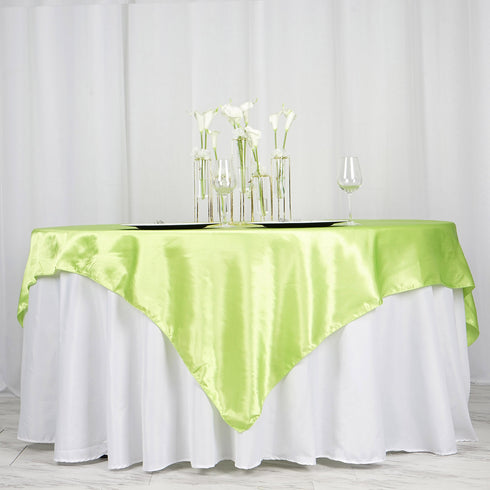 "72"" x 72"" Apple Green Seamless Satin Square Tablecloth Overlay"