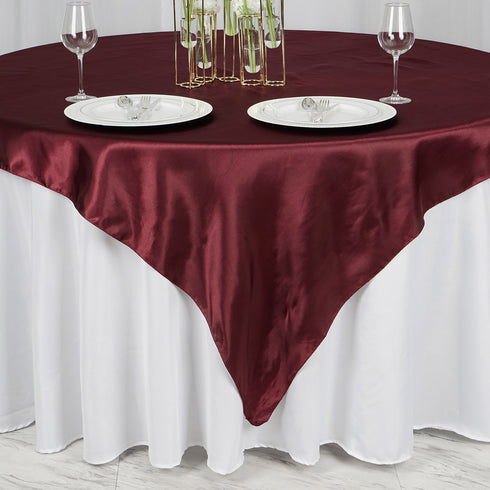 "72"" x 72"" Burgundy Seamless Satin Square Tablecloth Overlay"