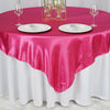 "72"" x 72"" Fushia Seamless Satin Square Tablecloth Overlay"