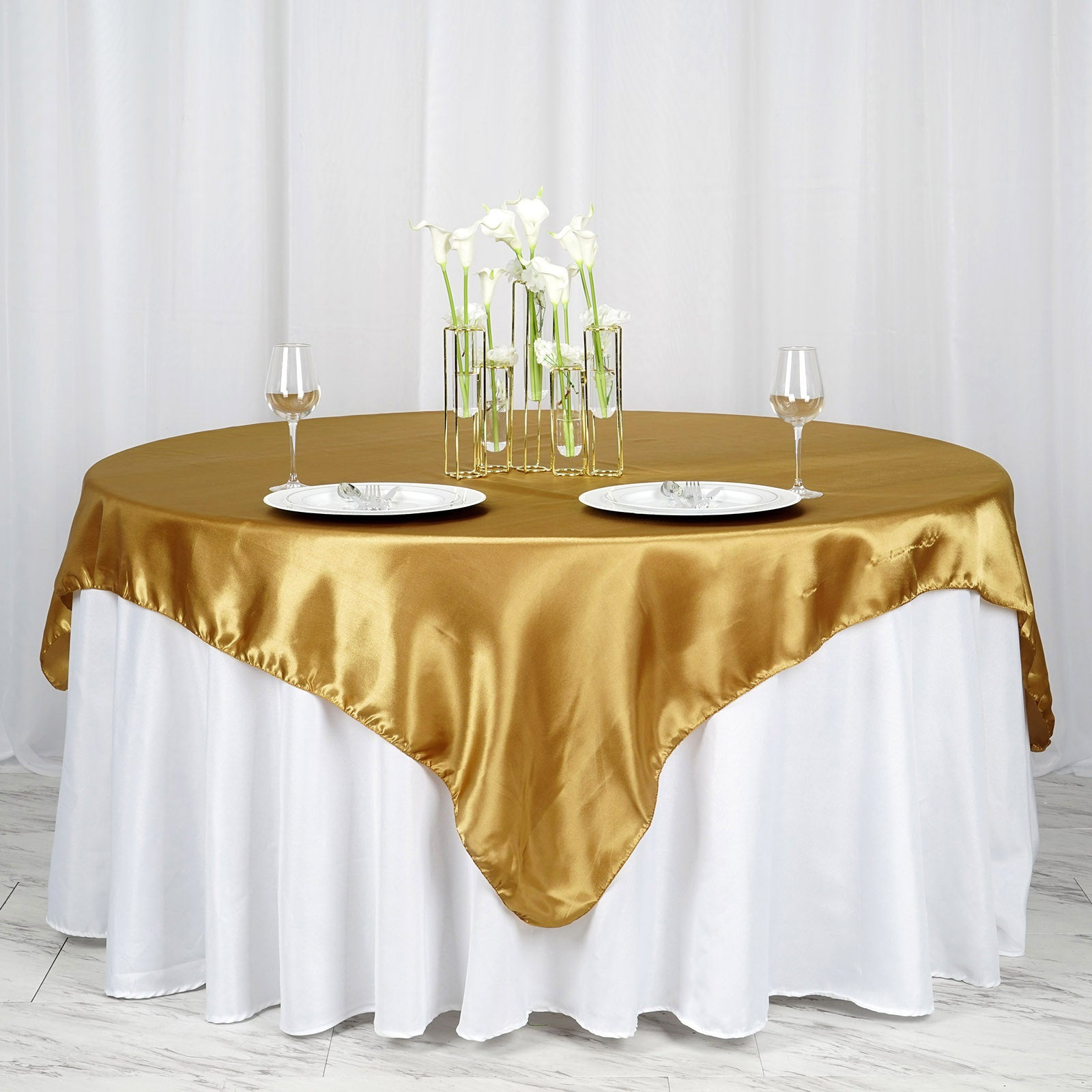72 X Gold Seamless Satin Square Tablecloth Overlay Efavormart