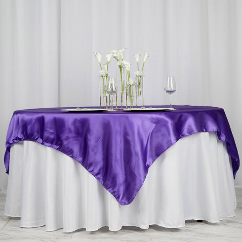 "72"" x 72"" Purple Seamless Satin Square Tablecloth Overlay"