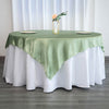 "72"" x 72"" Sage Green Seamless Satin Square Tablecloth Overlay"