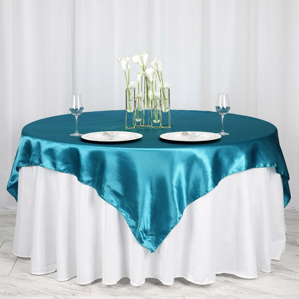 "72"" x 72"" Teal Seamless Square Satin Tablecloth Overlay"
