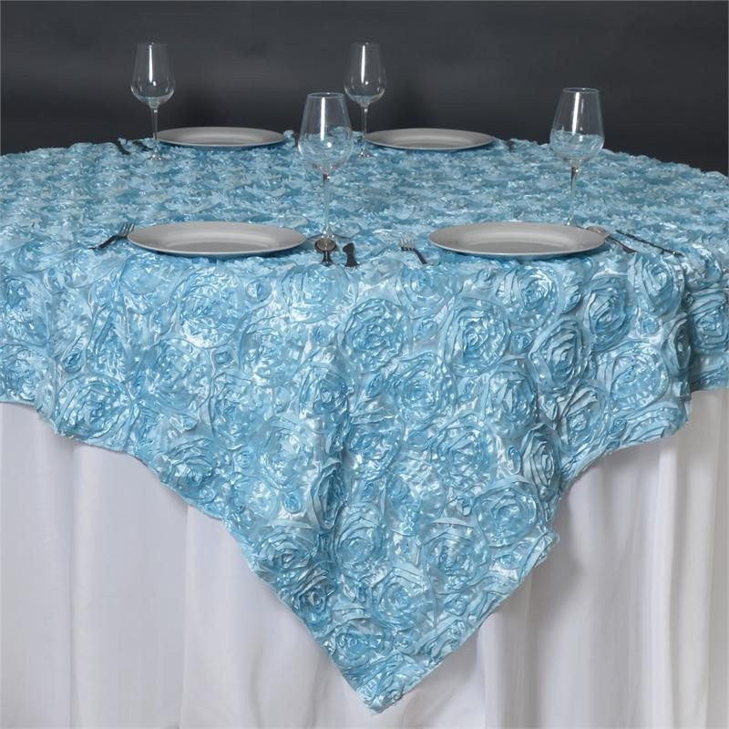 Wonderland rosette overlay 85 x85 light blue efavormart for 85 table overlay