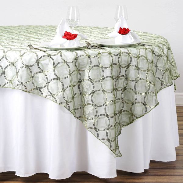 "85"" x 85"" Silver Sage Organza Table Overlay with Sequin Circle Designs"