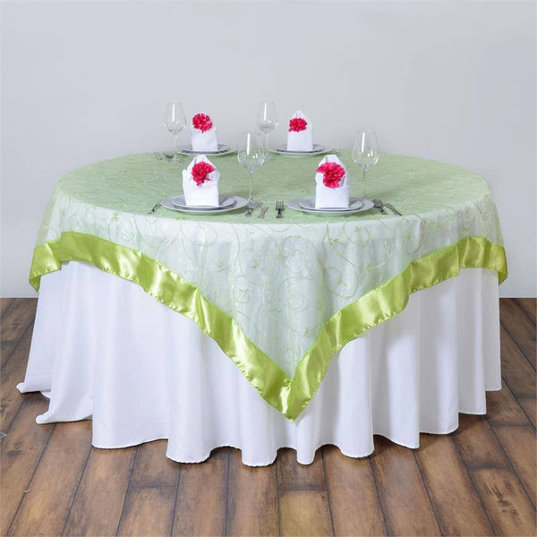 "85"" x 85"" Apple Green Satin Edge Embroidered Sheer Organza Square Table Overlay"