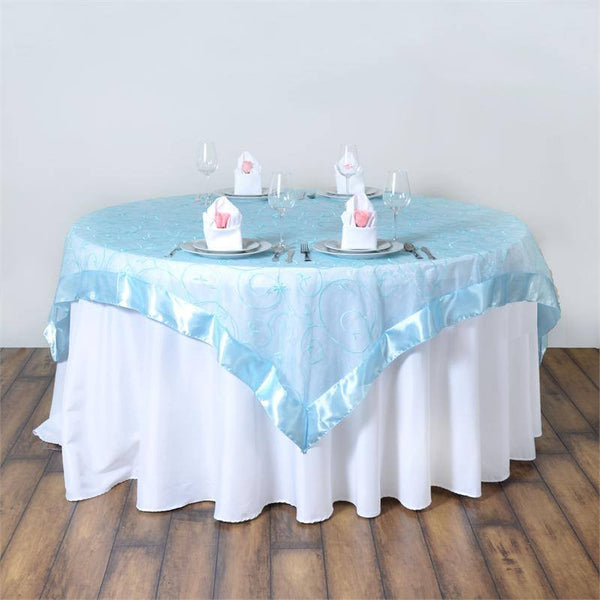 "85"" x 85"" Light Blue Satin Edge Embroidered Sheer Organza Square Table Overlay"