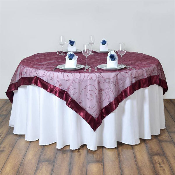 "85"" x 85"" Burgundy Satin Edge Embroidered Sheer Organza Square Table Overlay"