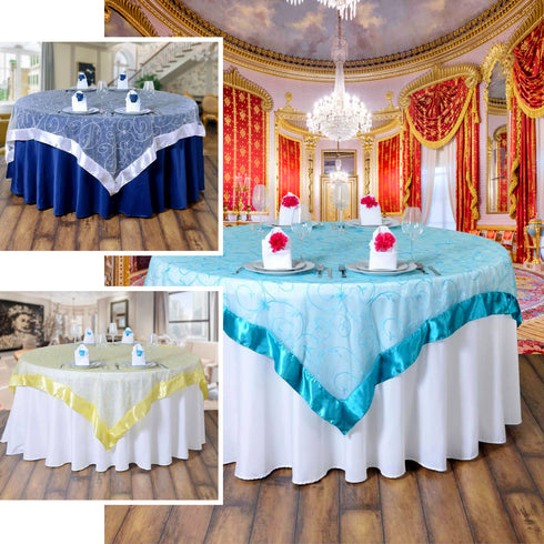 85 X Gold Satin Edge Embroidered Sheer Organza Square Table Overlay Efavormart
