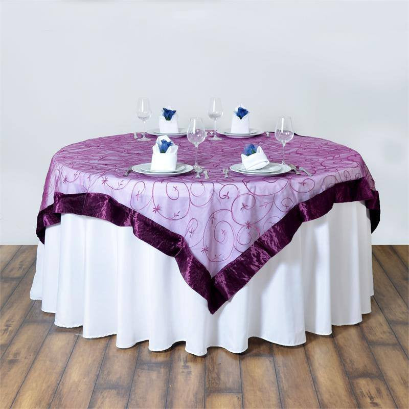 85 satin edges sheer organza square overlay eggplant for 85 table overlay