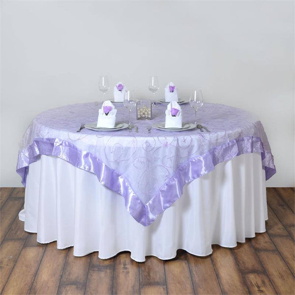 "85"" x 85"" Lavender Satin Edge Embroidered Sheer Organza Square Table Overlay"