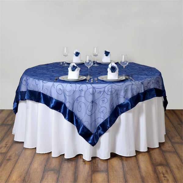 "85"" x 85"" Navy Blue Satin Edge Embroidered Sheer Organza Square Table Overlay"