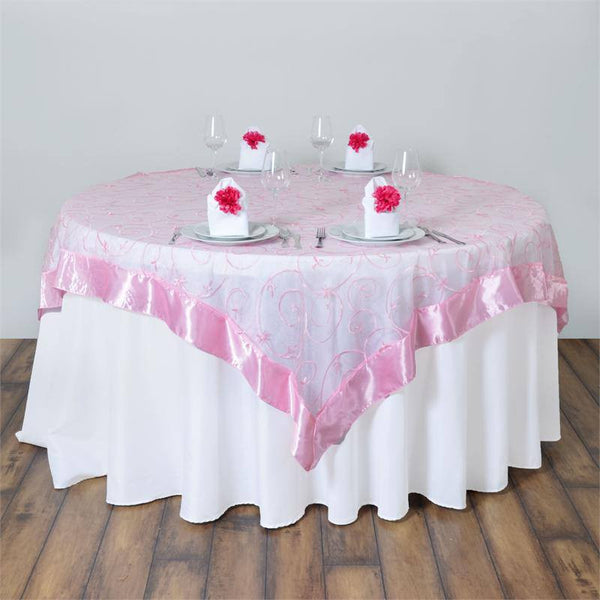 "85"" x 85"" Pink Satin Edge Embroidered Sheer Organza Square Table Overlay"