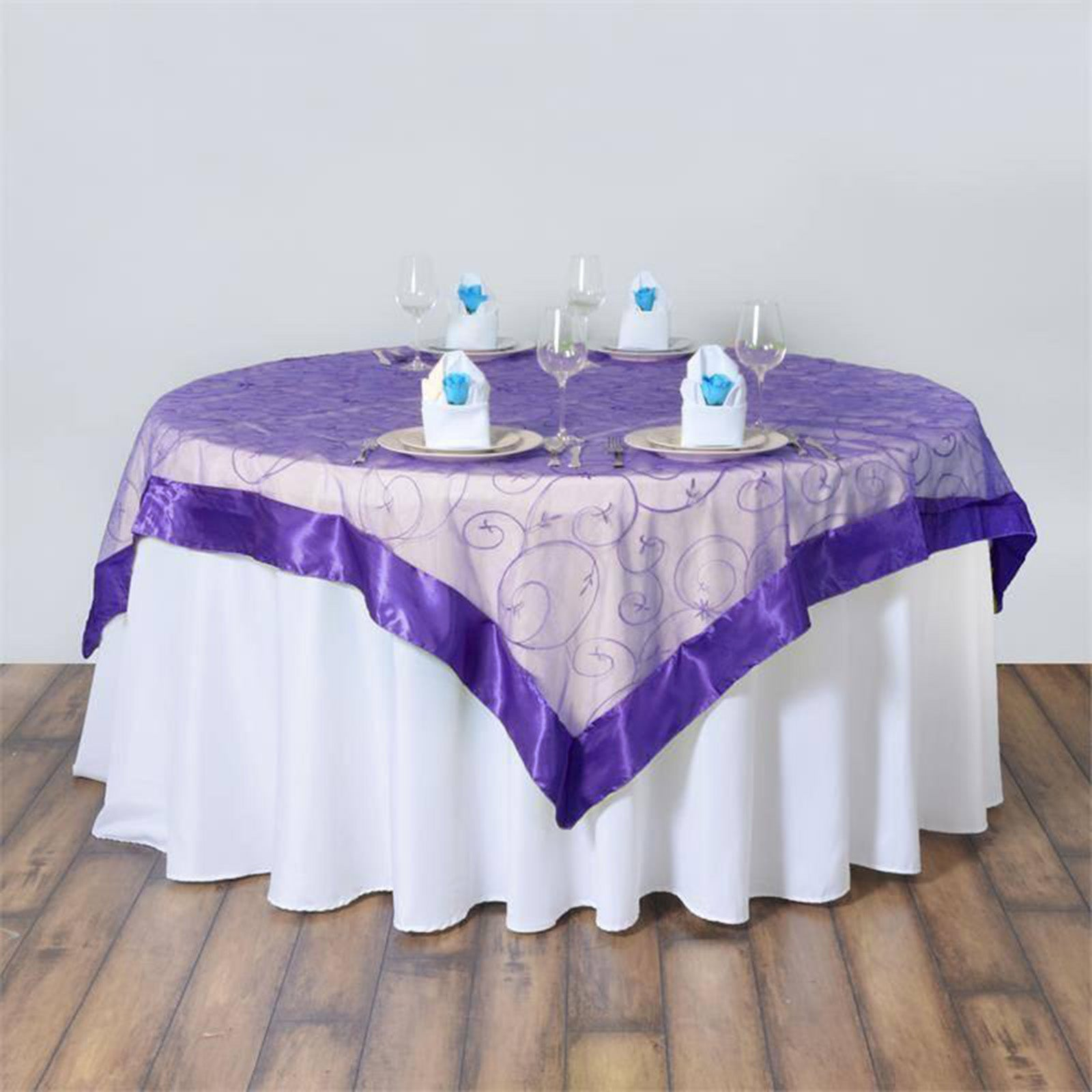 85 satin edges sheer organza square overlay purple for 85 table overlay