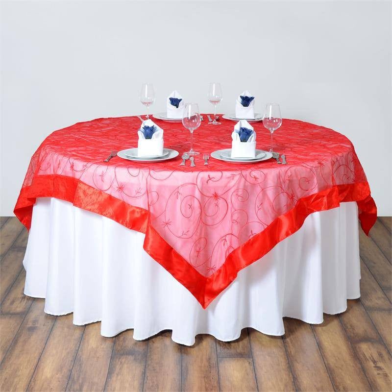 85 red satin edges sheer organza square overlay for for 85 table overlay