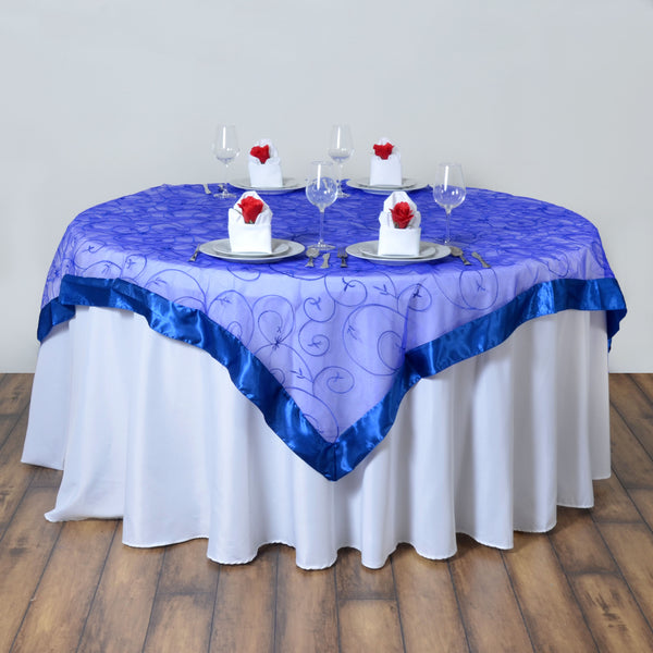 "85"" x 85"" Royal Blue Satin Edge Embroidered Sheer Organza Square Table Overlay"