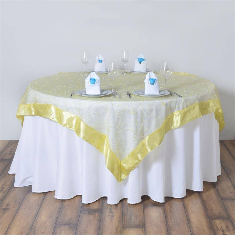 85 satin edges sheer organza square overlay yellow for 85 table overlay