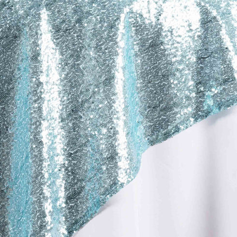 "LUXURY COLLECTION Duchess Sequin Overlay 90"" x 90"" - Serenity Blue"