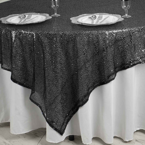"LUXURY COLLECTION Duchess Sequin Overlay 90"" x 90"" - Black"