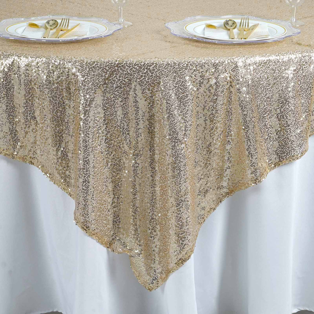 "LUXURY COLLECTION Duchess Sequin Overlay 90"" x 90"" - Champagne"